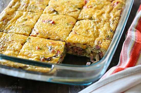 Veggie Ham Egg and Cheese Breakfast Bake – make this ahead so you have breakfast for the week. You can swap the ham for sausage or whatever you prefer, this freezes well and can also be baked in muffin tins.