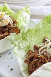 Turkey taco lettuce wraps are my go-to recipe when I want to eat something easy, delicious and light, and of course, healthy and low-carb! I forgo the taco shells and use lettuce leaves instead, and don't even miss them!