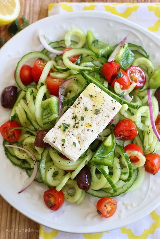 Spiralized Greek Cucumber Salad with Lemon and Feta Skinnytaste