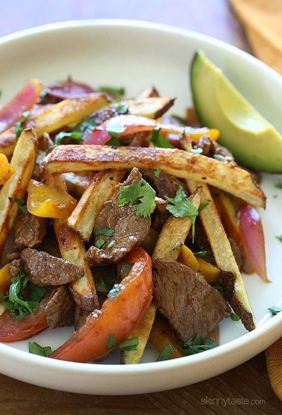 I put a healthier spin on Lomo Saltado (Peruvian Beef Stir Fry) one of my favorite Peruvian dishes!