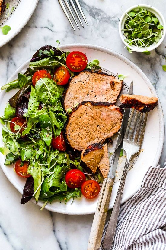 This easy Grilled Cumin Spiced Pork Tenderloin is perfect for summer nights. I season it with a quick, flavorful rub then throw it on the grill. While it cooks for 30 minutes, I make a salad and dinner is ready!