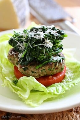 These Broccoli Rabe Turkey Burgers are deliciously flavorful – I skipped the bun, served them over lettuce and topped with sauteed broccoli rabe