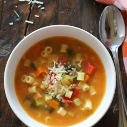 This is by far the best recipe you'll ever try for Minestrone soup – a classic, hearty Italian soup with tomatoes, white beans, vegetables and pasta. You can use Swiss chard or baby kale instead of spinach if you wish and you can omit the pasta if you don't want the carbs – honestly you won't miss it with everything else in this soup.