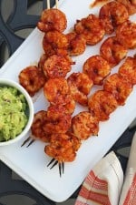 These easy BBQ Shrimp Skewers are slathered with my homemade BBQ sauce, so perfect for any night of the week, or great if you want to feed a crowd