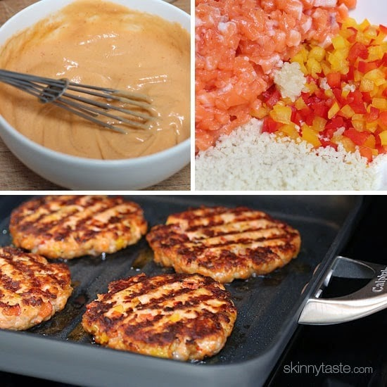 Some burgers are just meant to be eaten without a bun. These delicious, omega-packed, naked salmon burgers with sriracha mayo are the perfect example!