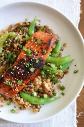 Asian Farro Medley with Salmon is made with shiitake mushrooms, snap peas, ginger, garlic and spices. Not only is this dish absolutely delicious, it's also high in protein, omega-3's and is ready in about 30 minutes.