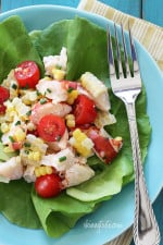 Chilled Lobster Salad with Sweet Summer Corn and Tomatoes, the perfect light summer salad made with sweet summer corn, grape tomatoes, garden herbs and chilled steamed lobster.