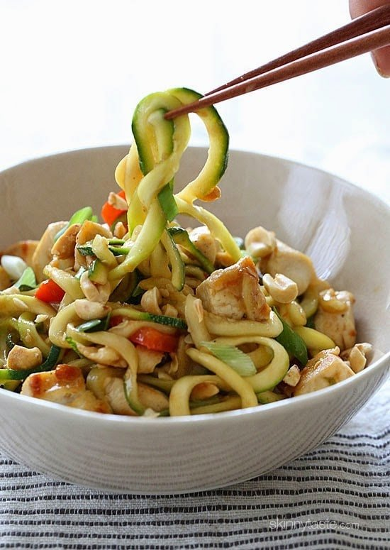 Kung Pao Chicken Zoodles For Two – I swapped the noodles with zucchini noodles and the results were fantastic!! (under 300 calories).