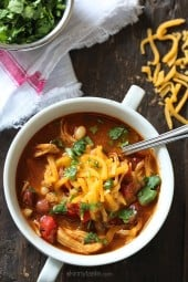 A delicious twist on traditional chili – shredded chicken, beans and BBQ sauce are simmered in one big pot which has just a touch of sweetness that makes this meal Seriously Delish!