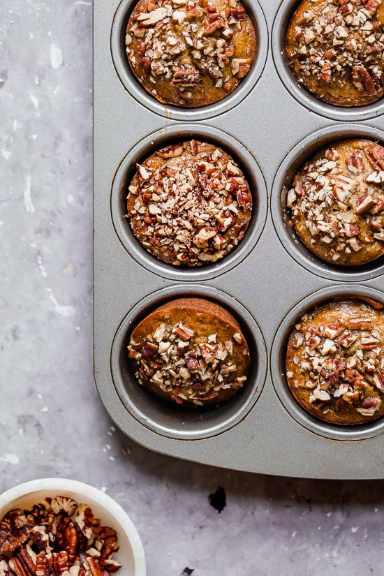 Moist and delicious Maple Pecan Banana Muffins, so good you won't believe they are light!
