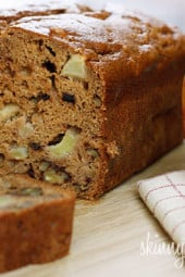 Moist cinnamon apple bread made with homemade applesauce, small chunks of fresh apples and walnuts in every bite. It's so moist and delicious, you won't believe it's low fat!
