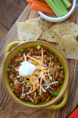 This is chili with a buffalo chicken twist! So easy to make and SOOOO good – perfect for game watching or any night of the week!