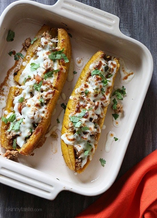 Turkey Picadillo Stuffed Sweet Plantains | Skinnytaste