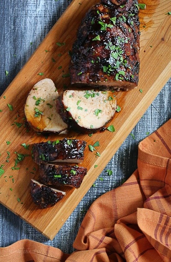 Lean pork tenderloin with a sweet and tangy glaze, and super easy to make!