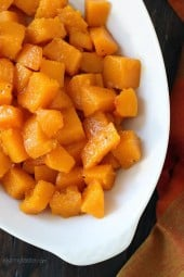 A simple Fall side dish, made with just 3 ingredients (butternut, pure maple syrup and oil) plus s + p!