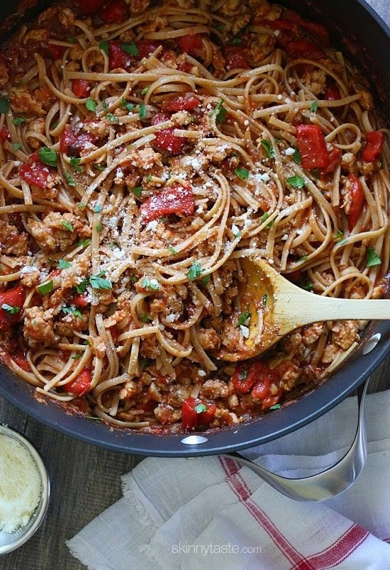 Spicy Whole Wheat Linguini with Sausage and Roasted Peppers –A hearty, delicious pasta dish –ready in 30 minutes.