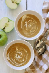Caramelized Apple Onion Soup tastes like fall in a bowl! Apples and caramelized onions are simmered with cider and broth, and blended with a touch of cream.