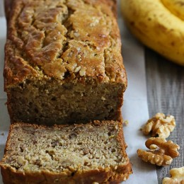 Delicious, low-fat, gluten-free banana nut bread made two-ways! So moist and delicious, you can't tell it's light. My family went bananas for this!!
