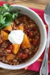 This No Bean Turkey and Sweet Potato Chili recipe is made with ground turkey, sweet potatoes and spices – the perfect weeknight meal.