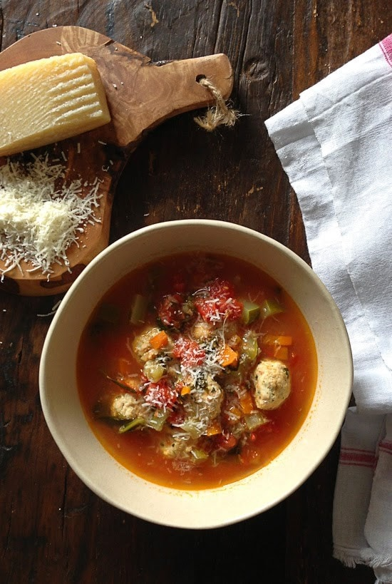 Mini Turkey Meatball Vegetable Soup is kid-friendly and perfect to warm up to on a chilly autumn night.
