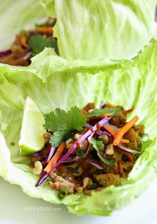 Not your ordinary tacos – these Thai chicken lettuce tacos are spicy and exotic, made with my light peanut sauce which I make with PB2 (powdered peanut butter) sriracha, ginger and spices. To balance out the spice, I chose to serve these in crisp cool lettuce wraps but tortillas would work great too!