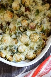 Brussels Sprouts Gratin are roasted until crisp, then topped with a light cheese sauce made with Gruyere and Parmesan, and baked until brown and bubbling – the perfect Holiday dish!