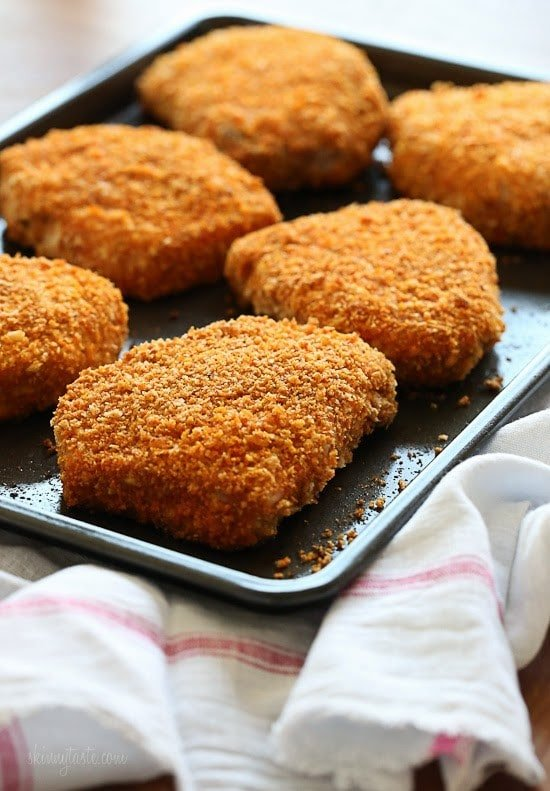 Oven fried breaded pork chops skinnytaste juicy delicious boneless pork chops coated with a seasoned crisp crust ready in ccuart Choice Image