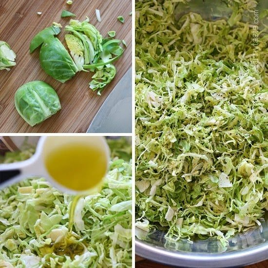 This raw shredded brussels sprouts salad is so simple to make, even a 4 year old can do it (with Mommy's help). Tossed with a little olive oil, lemon juice, salt and pepper, it makes a wonderful side dish to any meal, and my family loves it!
