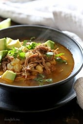 This Pressure Cooker Pozole (Pork and Hominy Stew) is made with pork, hominy and spices, it's so comforting, especially on a cold winter night. Leftovers taste even better the next day, perfect to pack for lunch.
