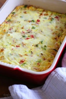 This Sausage, Cheese and Veggie Breakfast Casserole is made with Italian chicken sausage, broccoli, roasted peppers and mozzarella cheese.