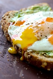 This is MY kind of egg sandwich! Whole grain toast with mashed avocado, a runny egg and a few dashes of hot sauce – only 5 ingredients, 5 minutes to make, doesn't get better than that!