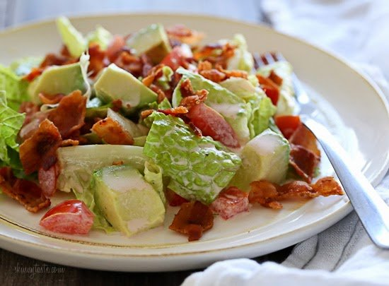 BLT Salad with Avocado is my low-carb solution to the classic sandwich! Made with center cut bacon, lettuce, tomatoes and avocado in a light dressing.