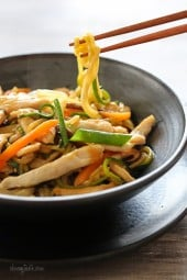 "Chicken Zoodle ""Lo Mein"" For Two, a low-carb lo mein dish made with zucchini noodles in place of pasta."