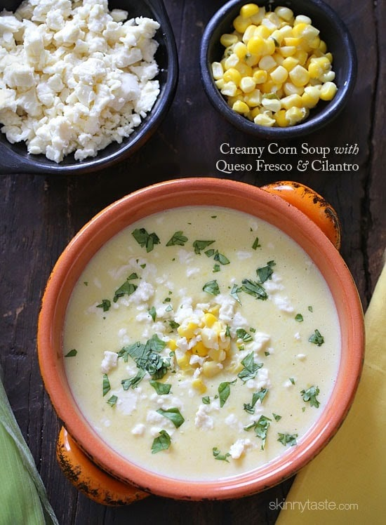 Creamy Corn Soup with Queso Fresco and Cilantro