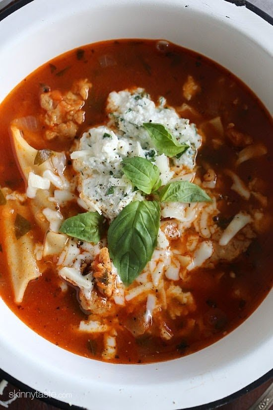 Everything you love about lasagna – all in one bowl of soup! Loaded with chicken sausage, lasagna noodles, marinara and cheese. It's easy, filling, hearty and perfect for a cold winter night.