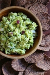 This easy crab guacamole is for the avocado obsessed! Perfect for any dinner or party app, I served them with Beanitos Black Bean chips which I love, but any baked chip would be perfect!