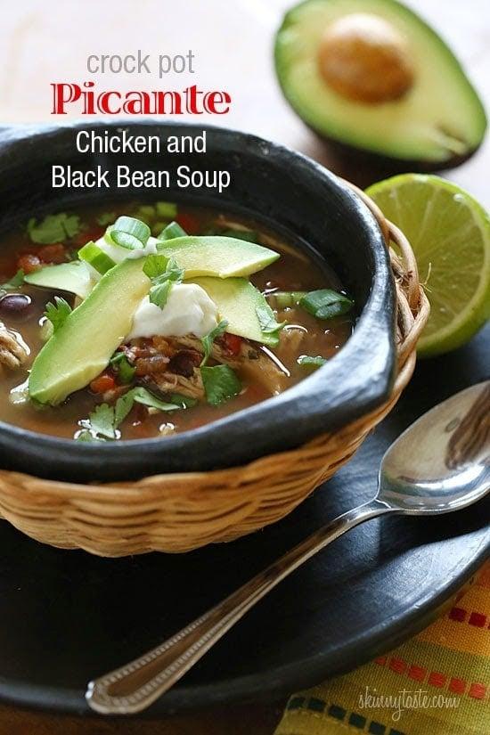 Crock Pot Picante Chicken and Black Bean Soup
