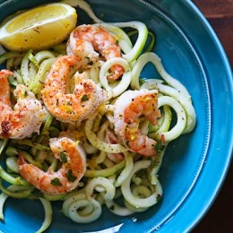 Shrimp Scampi Zoodles for Two, a delicious garlic shrimp and lemon dish over zucchini noodles is an EASY low-carb dish that takes less than 20 minutes! It's also gluten-free, paleo, Whole30 and keto!