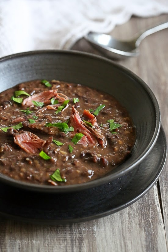 It's snowing in New York – perfect soup day! And black bean soup with smoked turkey is a hearty, filling, fiber-rich soup. The kind of soup that sticks to your bones on a cold day like today.