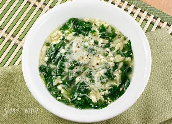 Spinach Stracciatella Soup with Orzo