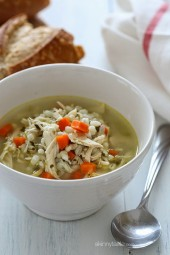 Warm up with a bowl of this Chicken and Barley Soup! My entire family loves this including my five year old, and the leftovers are better the next day!