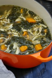 This hearty soup – loaded with chicken, kale, sweet potatoes and veggies, will warm your bones on this cold winter we are having! And the leftovers are perfect for heating up for lunch the next day and can also be frozen for another night.