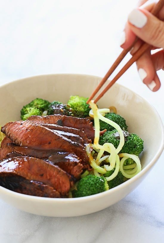 Marinated sirloin steak with broccoli and spiralized broccoli noodles in a delicious hoisin sauce. This dish is out-of-this-world good, and so filling I couldn't even finish it! You NEED this in your life!