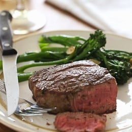 Filet mignon is the most tender cut of steak you can buy, and doesn't require fancy seasonings – coarse salt and fresh cracked pepper is all you need for a delicious steak that's pan seared then finished in the oven and cooked to perfection!