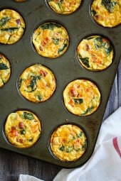 These petite crustless quiche are SO good, loaded with turkey kielbasa, veggies and cheese. This slimmed down quiche will not disappoint. Make them ahead for grab-and-go breakfast for the week!