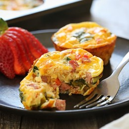SO good, loaded with turkey kielbasa, veggies and cheese. This slimmed down quiche will not disappoint. Make them ahead for grab-and-go breakfast for the week!