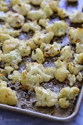 Roasting cauliflower brings out its nuttiness flavor and caramelizes the edges. This is such an easy way to prepare it, I toss it with garlic, lemon juice and olive oil and top it with freshly grated Parmesan cheese and some lemon zest when it comes out of the oven.