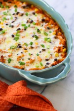 This Mexican inspired casserole is made with spiralized sweet potatoes, shredded chicken, black beans and corn in a delicious guajillo pepper sauce topped with melted Pepper Jack cheese – SO good, and the portions are very generous!