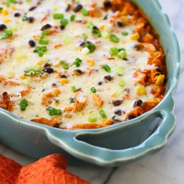 This Mexican inspired casserole is made with spiralized sweet potatoes, shredded chicken, black beans and corn in a delicious guajillo pepper sauce topped with melted Pepper Jack cheese – SO good with generous portions.