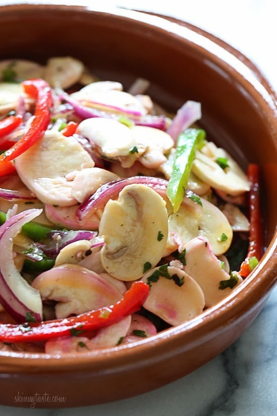 Mushroom ceviche marinated overnight with lemon juice, cilantro, red onion and bell pepper. All the flavors of ceviche without the seafood! 100% Vegetarian!